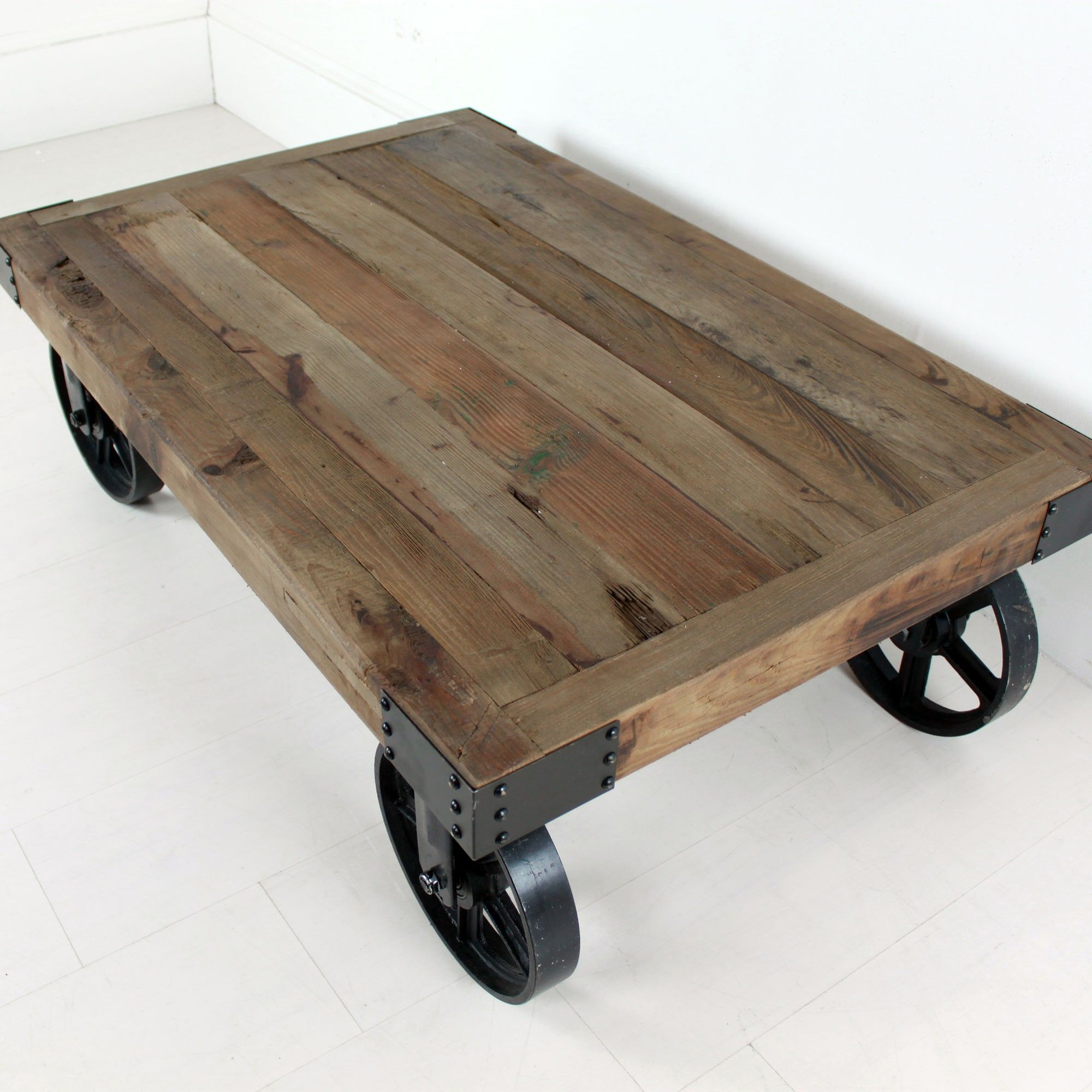 Bon Industrial Coffee Table On Wheels