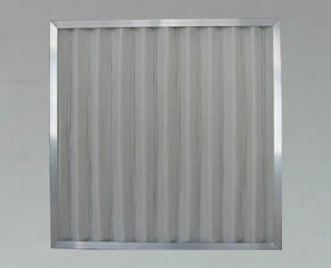 A panel filter made of pleated fine stainless steel mesh with aluminum framed edge.
