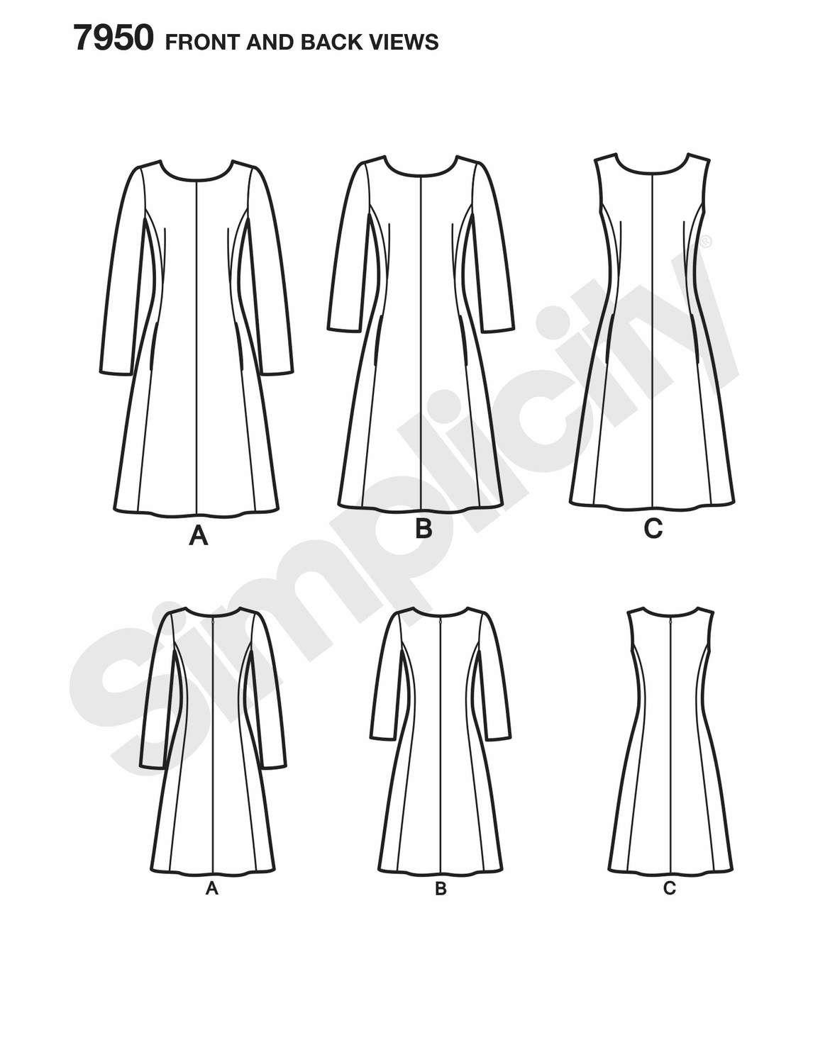 Simplicity Schnitt Kleid H/W 2017 #7950.BB   Make dresses ...