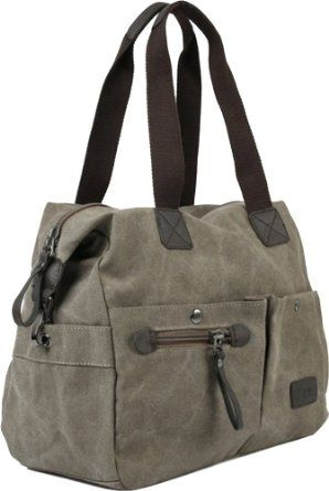 $40Amazon.com: Chicastic Grey Leisure Canvas Large Utility Casual Book Bag Shoulder Handbag With Wide Straps: Shoes