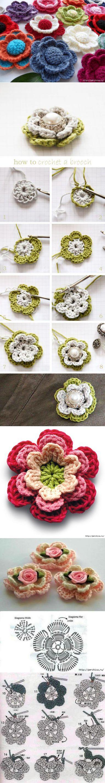 Разные варианты многослойного цветка связанного крючком ...♥ Deniz ♥.