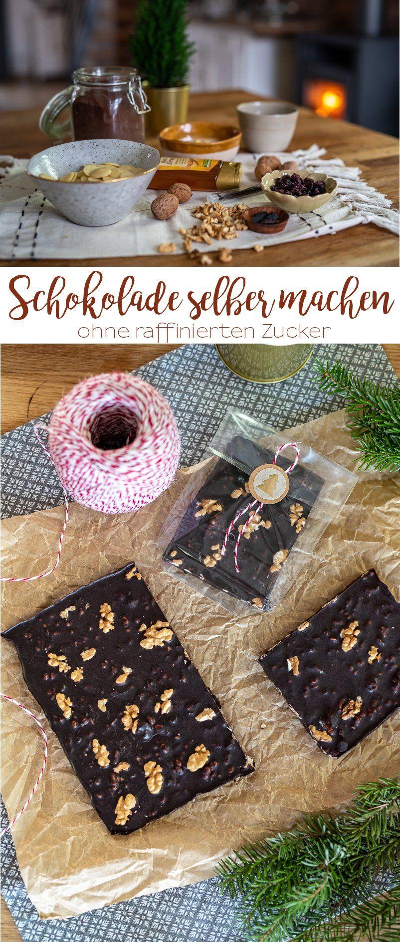 Rezept für selbst gemachte Schokolade ohne raffinierten Zucker - Leelah Loves