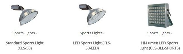 Our Sports Lighting Fixtures Are Available In Two Types Standard Metal Halide And The New Led Style These Led Light Fixtures Lighting Fixtures Light Standard