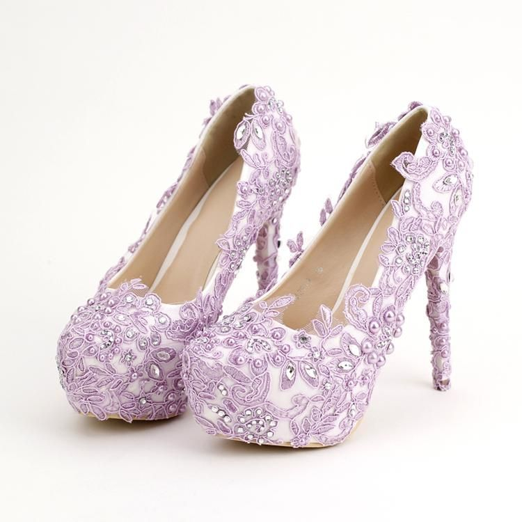 Light Purple Bride Shoes High Heels Rhinestone Pearl Wedding Shoes Elegant Lace Flowers Wedding Party Prom Shoes Fabulous Wedding Shoes Flat Bridal Shoes Ivory Purple Wedding Shoes Bride Shoes Ivory
