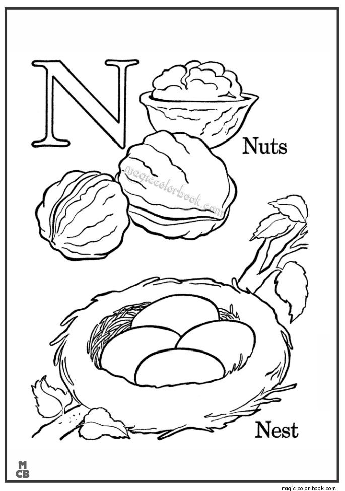 Alphabet N With Picture Coloring Pages NUTS NEST