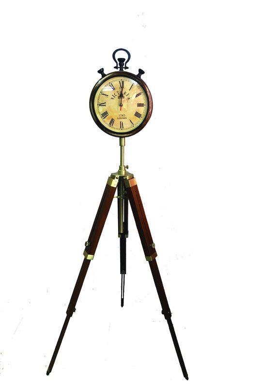 Handmade Brown Wood Grandfather Style Floor Clock Vintage 3 Folding Antique Floor Standing Clock Rom