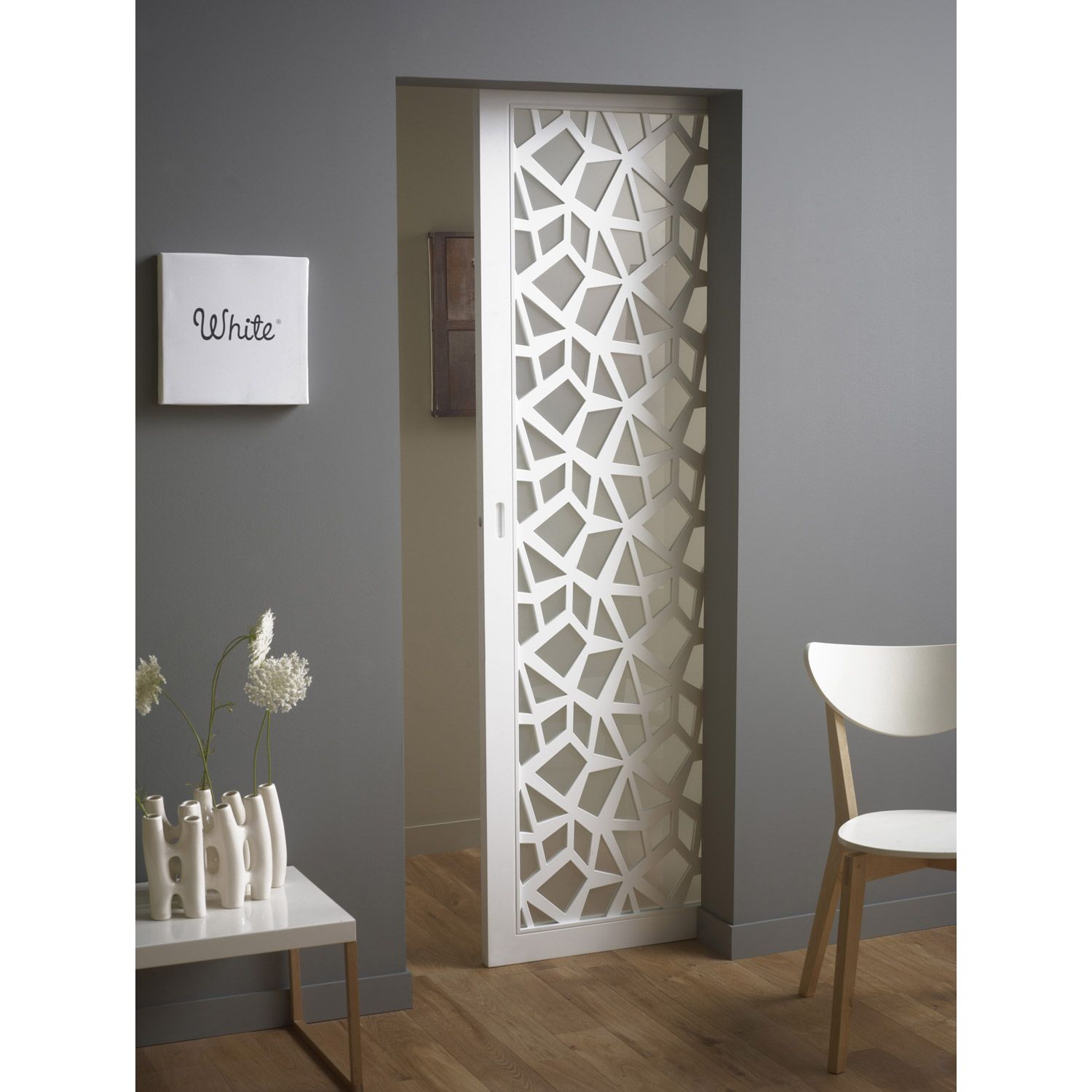 Trendy ensemble porte coulissante crash verre mdf laqu for Porte 0 galandage lapeyre