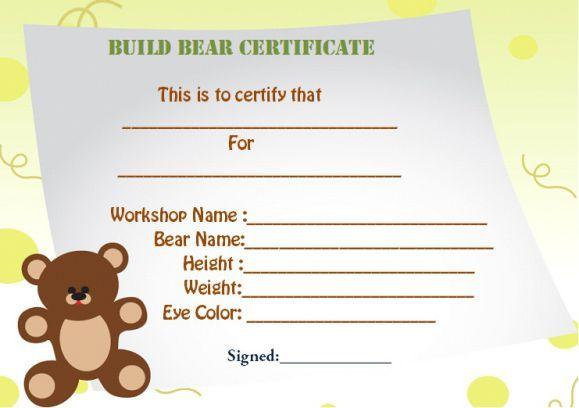 build a bear certificate template