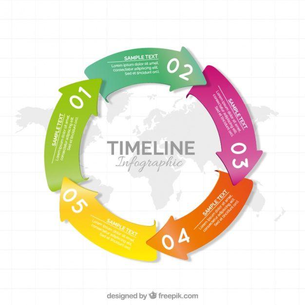 cronograma circular com setas coloridas Vetor grátis