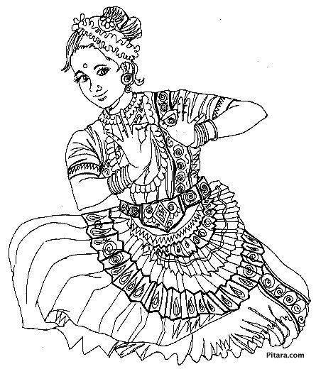 Saree Indian Girl Coloring Page Сари Раскраски Saree