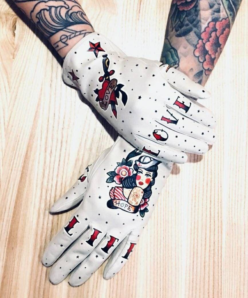 Custom Leather Gloves Tattoo Glovesthe Office Tattoo Flash Etsy Leather Gloves Custom Leather Harley Davidson Gloves