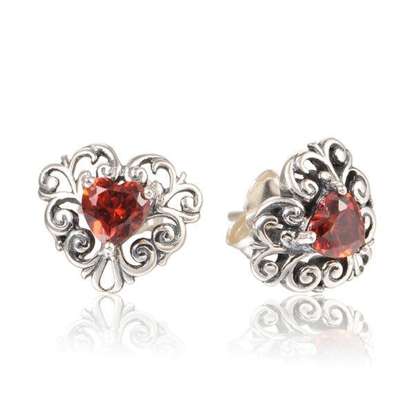 New Arrival Stud Earrings with Red Zircon For Women S925 Sterling Silver  fit European Style Wholesale Free Shipping ER1055H9 88122efe4f