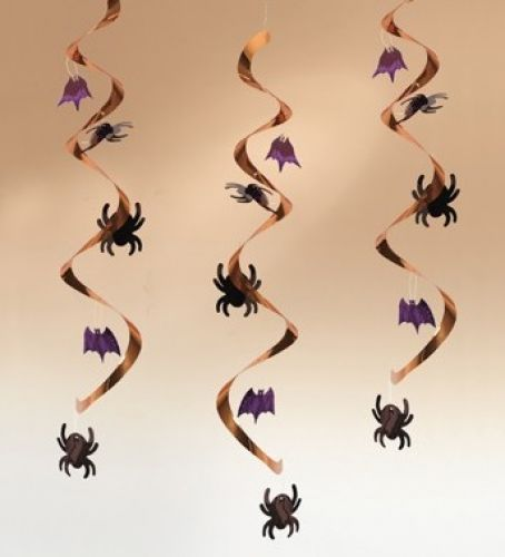 Spiders  bats spiral hanging decorations   wwwwfdennyuk/p - spiders for halloween decorations