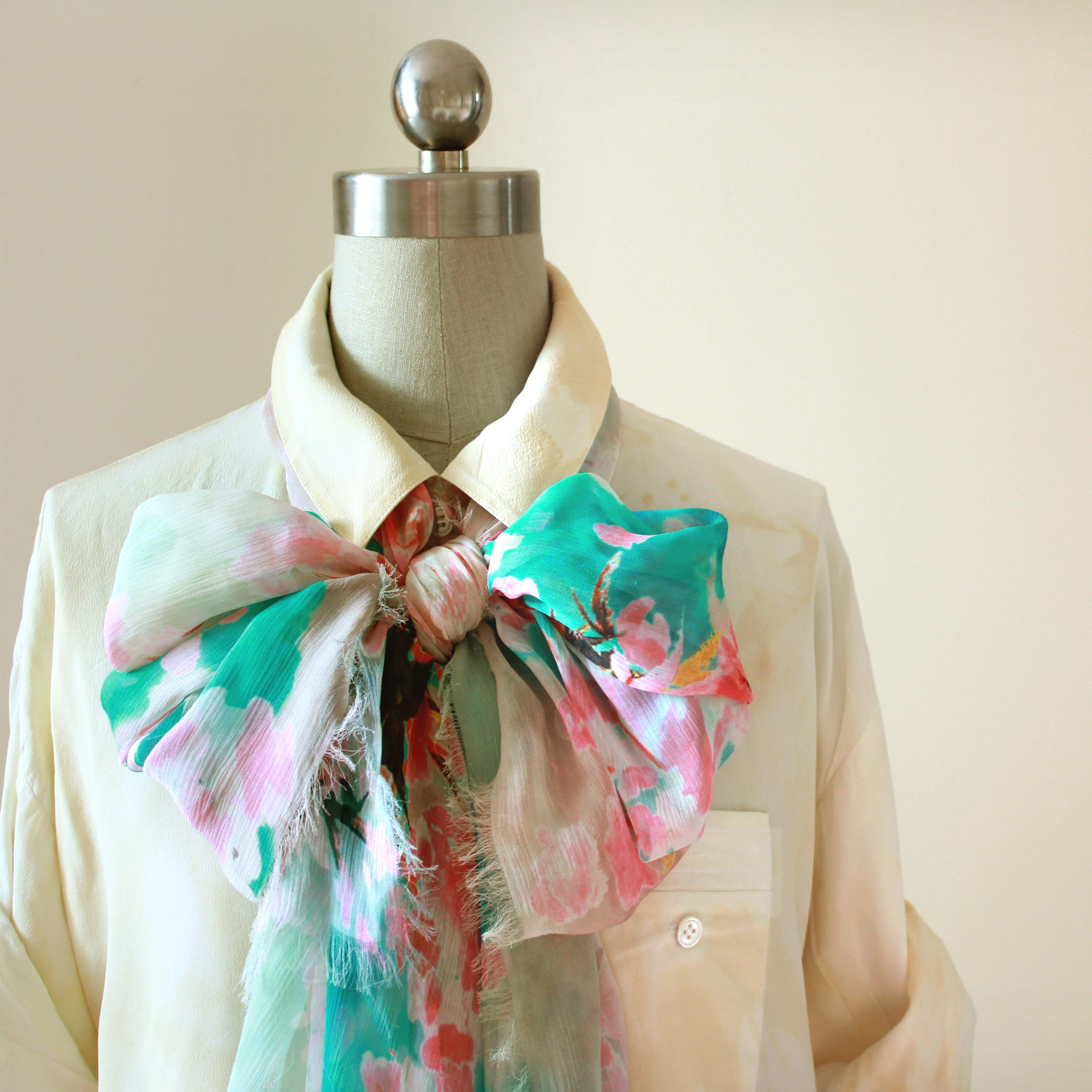 Digital Printed 100% silk long scarf with Cherry Blossom design from UnPaired design available on Etsy @ £48.00