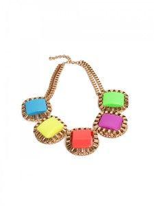 1980s Neon Plastic Square Necklace