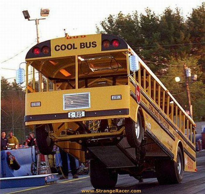 Cool Bus: AMAZING DRAGSTER SCHOOL BUS Aka COOL BUS POPS A WHEELIE