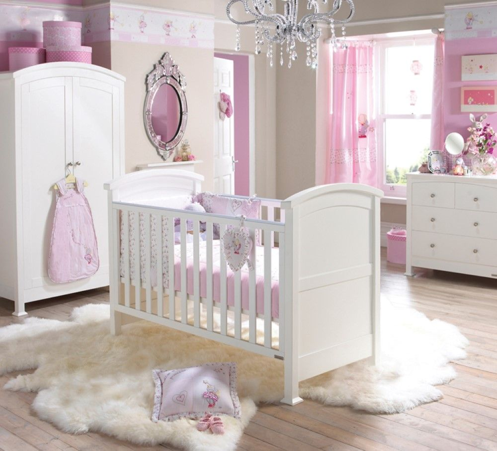 Bedroom Luxurious Chandelier For Baby Nursery Above White Crib And ...