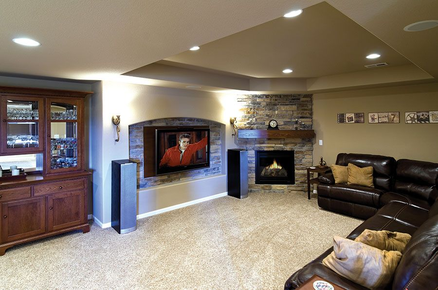 Basement Home Theater And Fireplace Home Theater Rooms