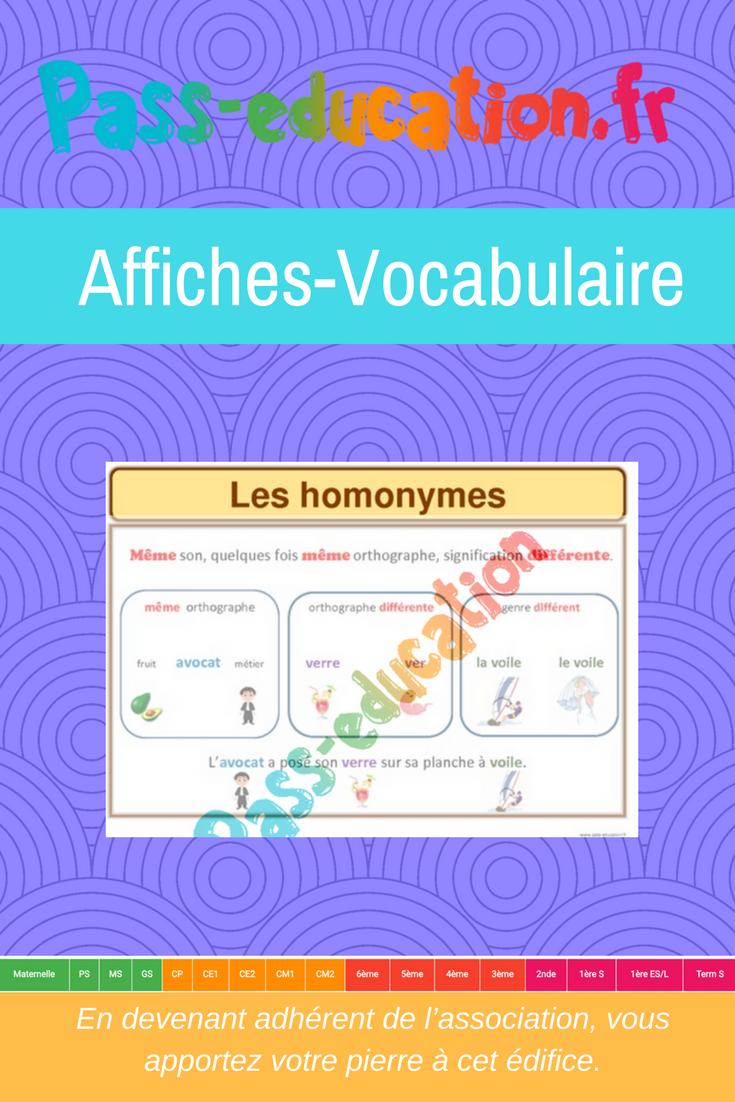 Les homonymes (2)- Ce1 - Ce2 - Cm1 - Cm2 - Affiche pour la classe