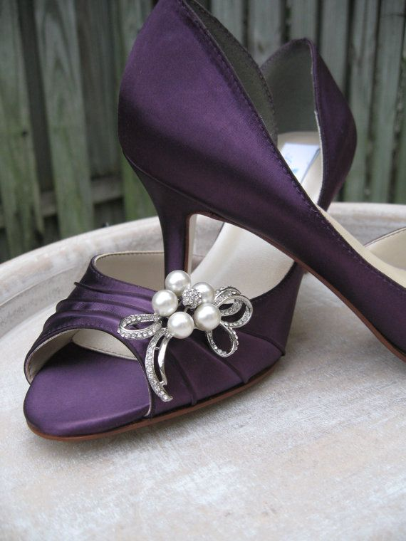 Purple Eggplant Bridal Shoes With Pearl And Crystal Bow Brooch Purple Wedding Shoes Over 100 Color Shoe Choices To Pick From Purple Wedding Shoes Bridal Shoes Purple Shoes
