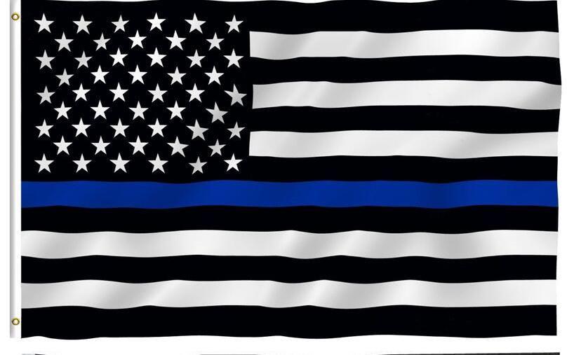Trasporto Libero Linea Blu Usa Polizia Bandiere 90 150 Cm Sottile