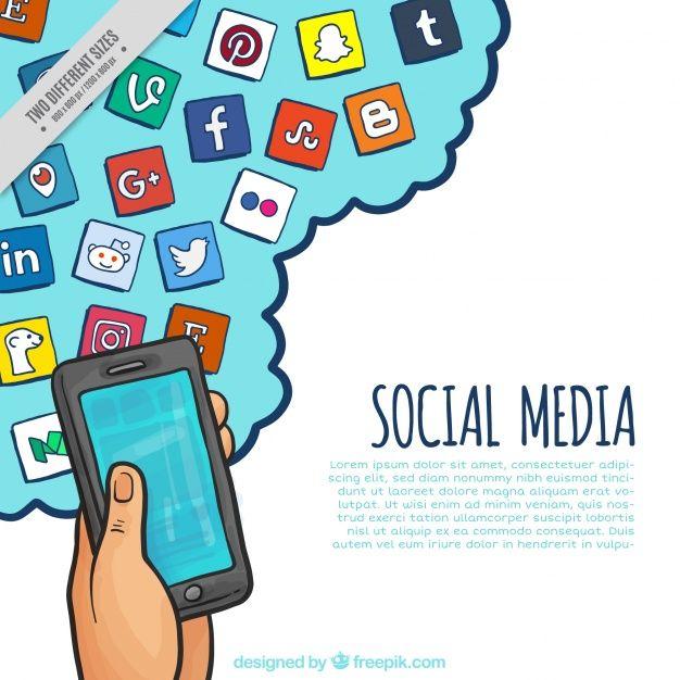 fundo do telefone móvel com a mão ícones rede social desenhada Icons - sample sales tracking