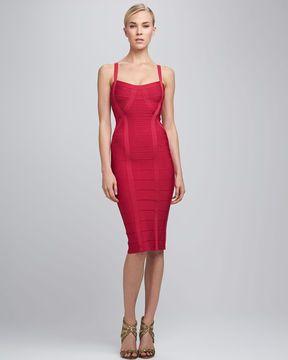 587deedc9da Herve Leger Thin-Strap Bandage Dress