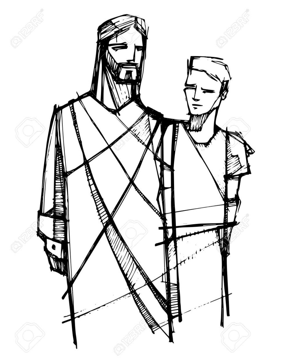 Ilustracion De Vector Dibujado A Mano O Dibujo De Jesucristo Caminando Con Hombre Joven Manos Dibujo Dibujos De Jesus Arte De Jesus