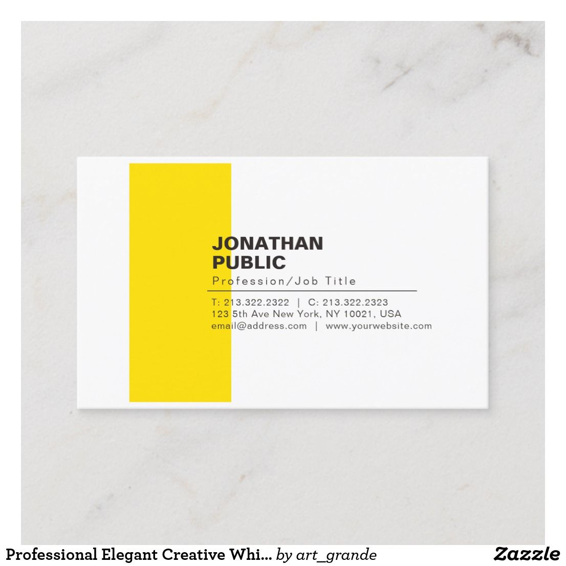 Professional Elegant Creative White Yellow Plain Business Card Zazzle Com Yellow White Elegant Creative