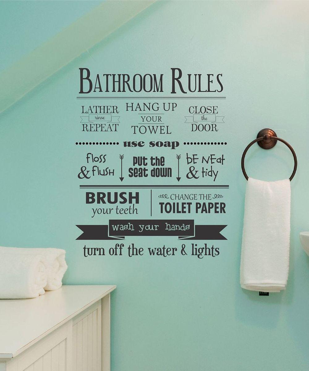 Modern Kids Bathroom Rules Reminder Wall Decal Bathroom Rules