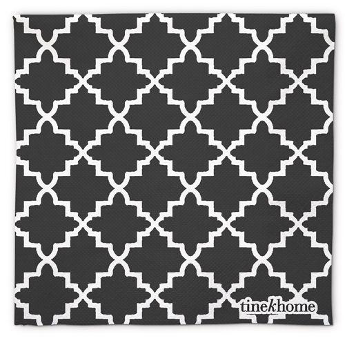 serviette en papier x50 motif mauresque blanc et noir tine. Black Bedroom Furniture Sets. Home Design Ideas