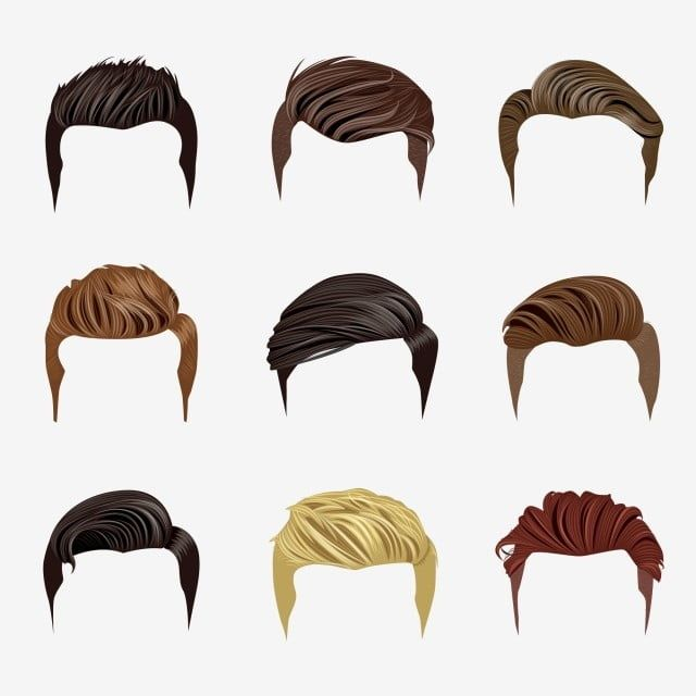 Set Of Men S Hairstyles Hair Clipart Hair Hairstyles Png And Vector With Transparent Background For Free Download Hair Vector Hair Illustration Drawing Male Hair