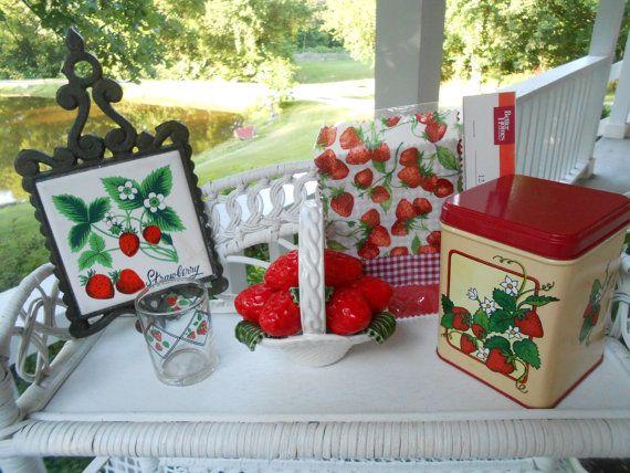 Strawberry Decor Kitchen Trailer Etsy Decorations Red