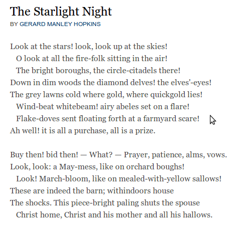 Gerard Manley Hopkins - masterful alliteration . . . so beautiful ...