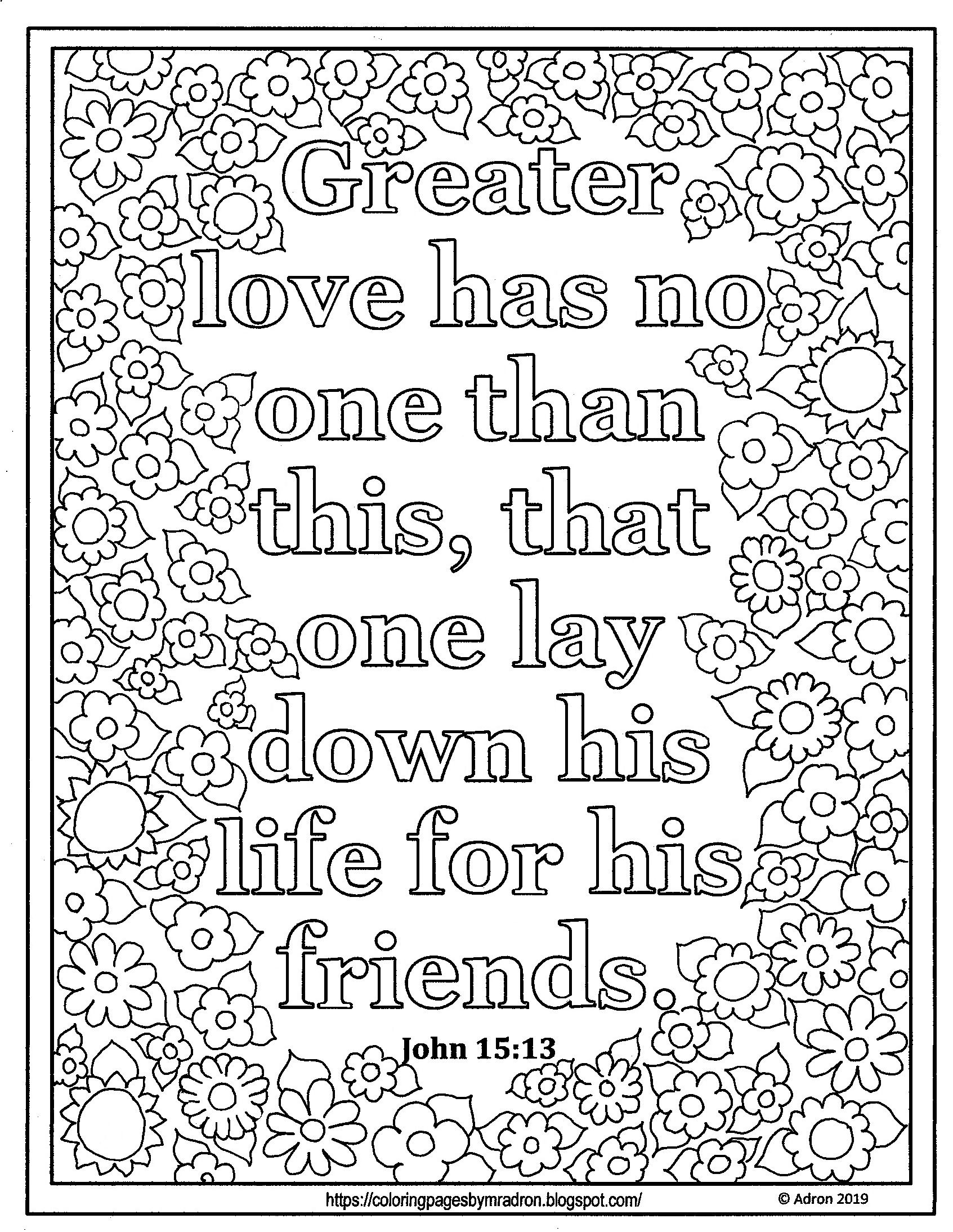 Lent Day 32 Print And Color Page With John 15 13 Bible Coloring Pages Bible Verse Coloring Page Bible Verse Coloring