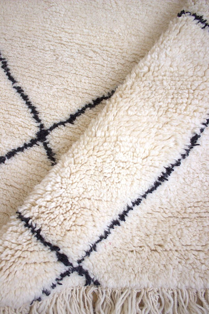 Black And White Moroccan Rug Beni Ourain Wool Carpet 5 5 X8