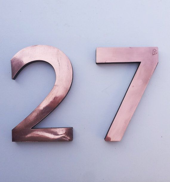 Large Architectural Floating Copper Numbers 12 305mm High With Some Discreet Seams Antigoni Font D Copper House House Numbers Large House Numbers