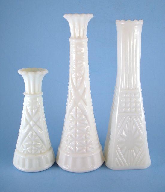 3 Milk Glass Bud Vases Anchor Hocking Stars & Bars