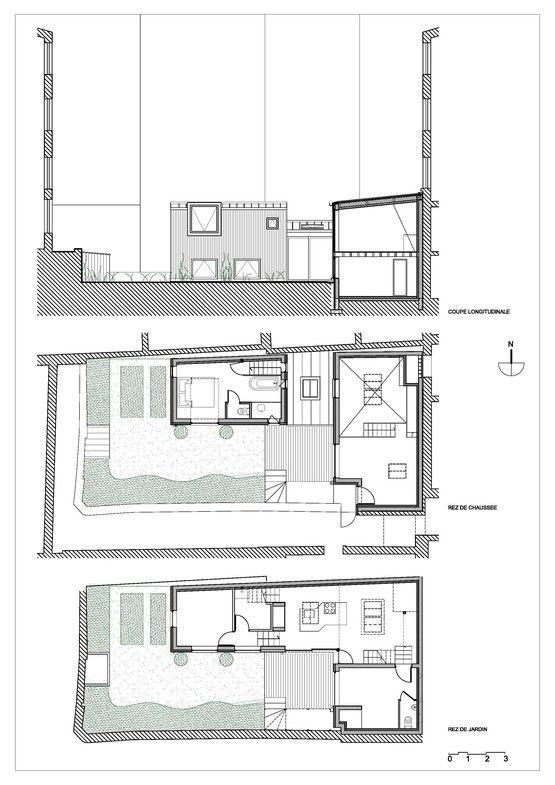 Maison dans une cour French architecture, Architecture drawings