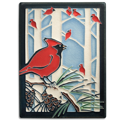 """Winter Cardinals is inspired by a print made by Yoshiko Yamamoto for the PBS Series """"Craft in America"""" for the 2015 holiday season"""