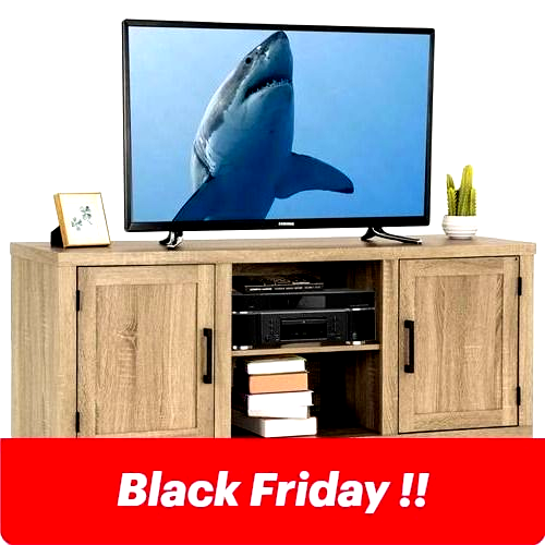 Natural Wood TV Stand Entertainment Center for up to 60inch TV