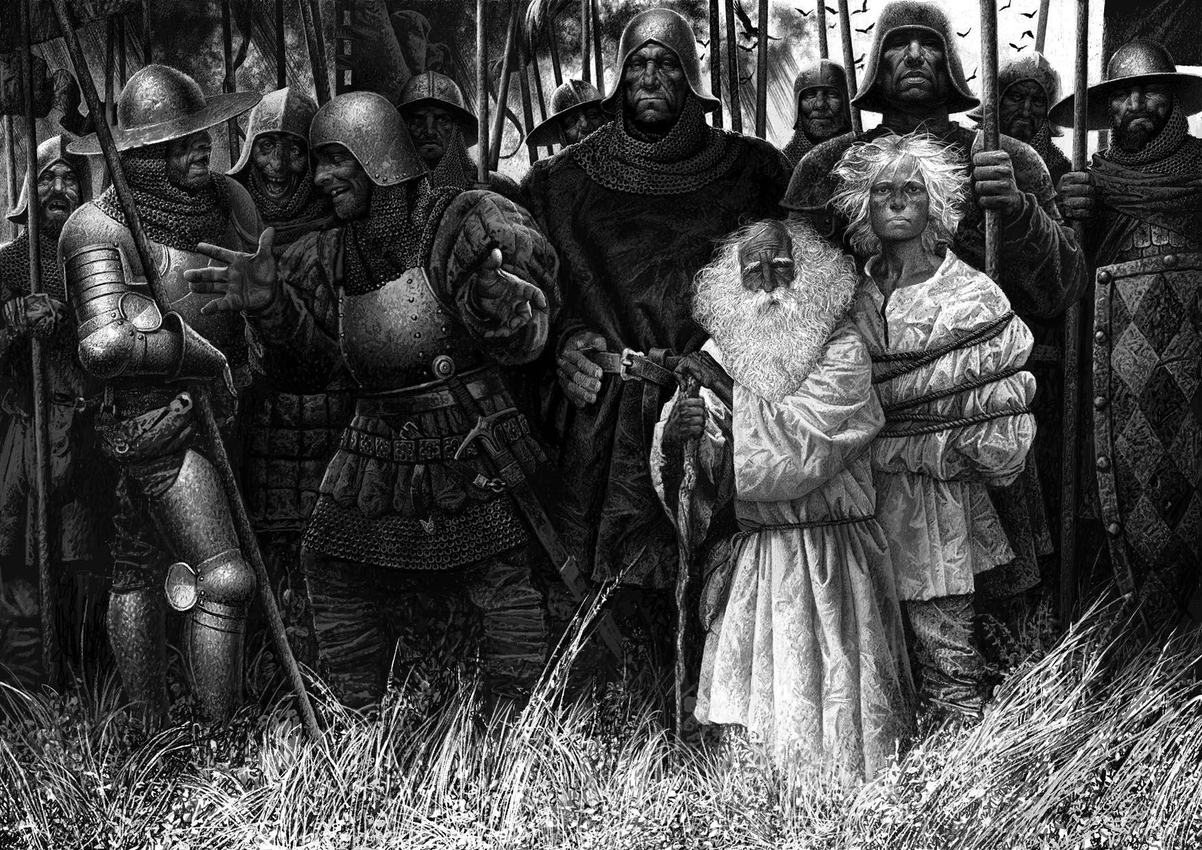 """Иллюстрация к стихотворению """"Вересковый мёд"""". Маленькие-светловолосые - это нордическая раса, пикты, викинги. А амбалы вокруг - это кельты, шотландцы..."""
