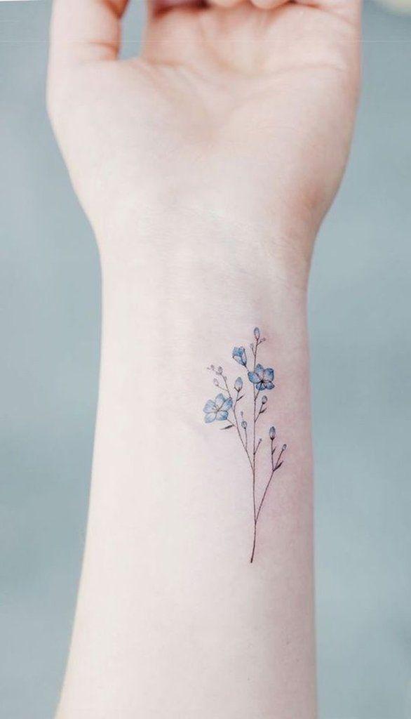 Kleine Aquarell minimalistische blaue Blumenblume Handgelenk Tattoo-Ideen für Frauen - P ... forget me not flower - Blume Ideen