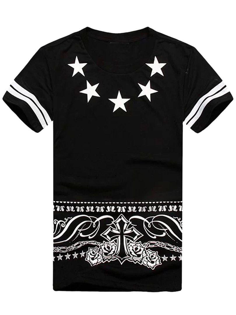 Black t shirt with print - Black Star Print T Shirt With Samara 23 In Back Choies