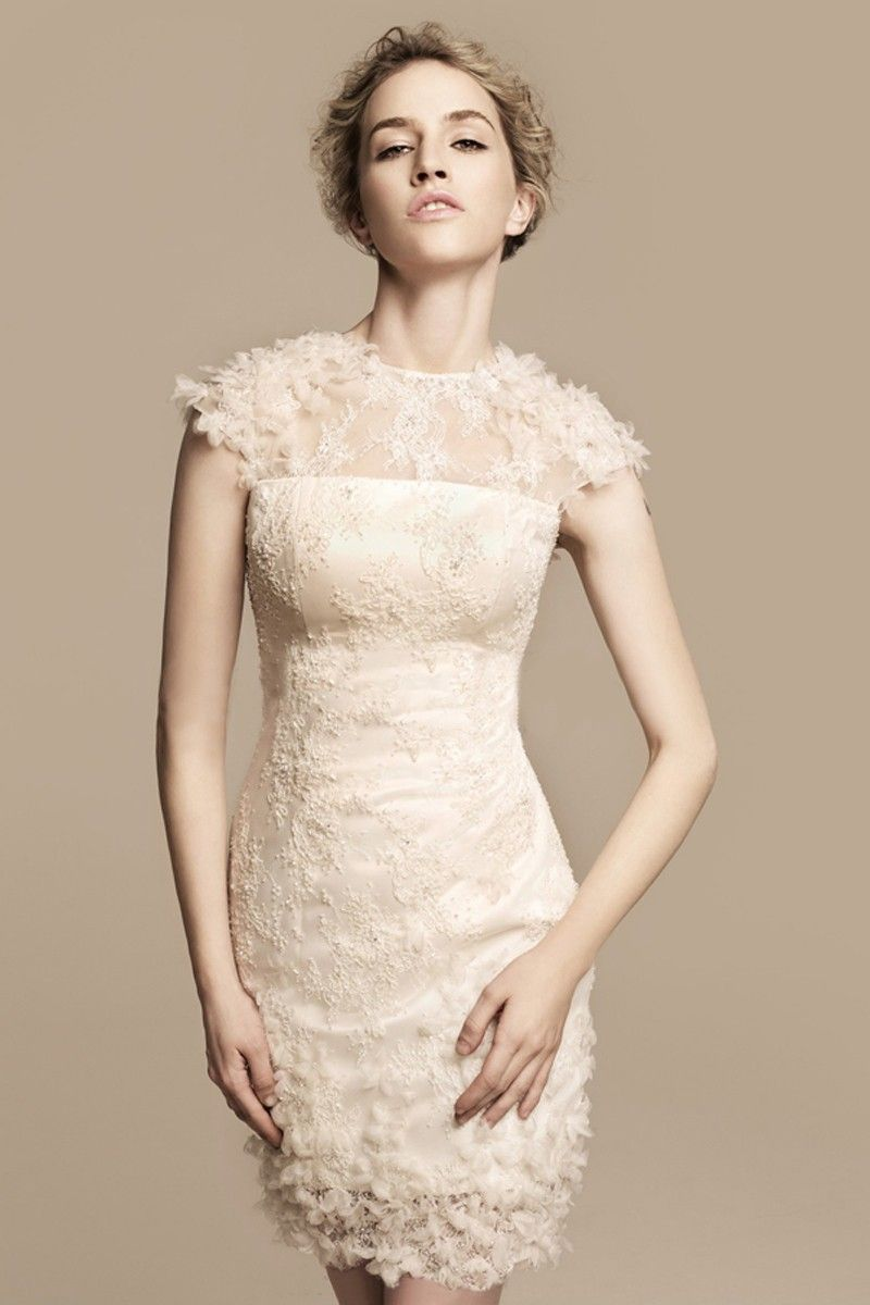 Sheath Column Scoop Neck Sleeveless Flowers Short Mini Wedding Dress Wedding Dress Cap Sleeves Ivory Lace Wedding Dress Tea Length Wedding Dress [ 1200 x 800 Pixel ]