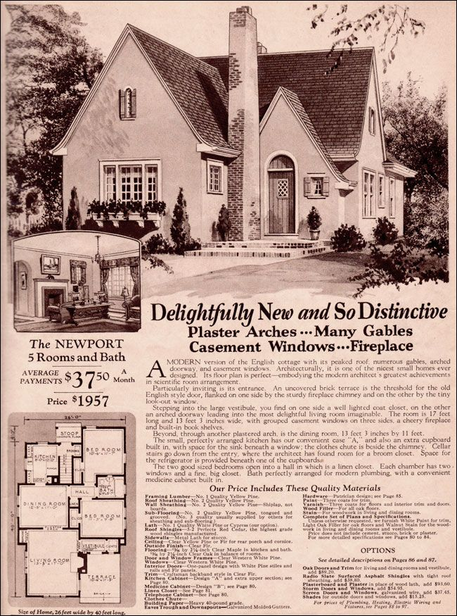 Wardway Homes Modern English Cottage 1930 Montgomery Ward Newport Vintage House Plans English Cottage English Cottage Style