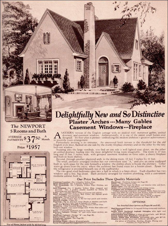 Wardway Homes Modern English Cottage 1930 Montgomery Ward Newport Vintage House Plans English Cottage English Cottage Style
