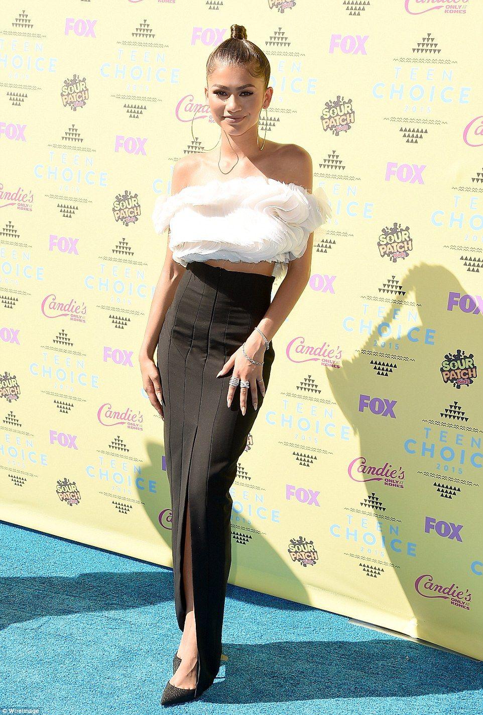 e9e97820e8 ... Teen Choice Awards. Monochrome beauty: Actress Zendaya opted for  dramatic ruffles and a sleek black skirt.