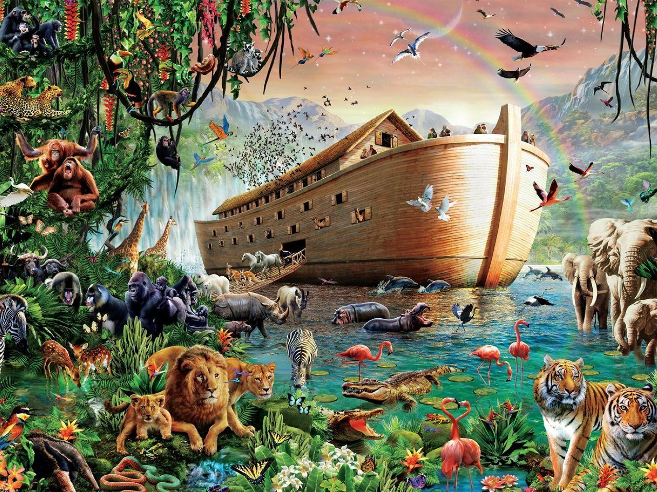 Noah S Ark 4000pc Jigsaw Puzzle By Tomax Noahs Ark Bible Pictures Biblical Art