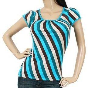 New Aqua Brown Modern Diagonal Stripe Casual Short Sleeve Top Tee Small SM S | eBay $11.99